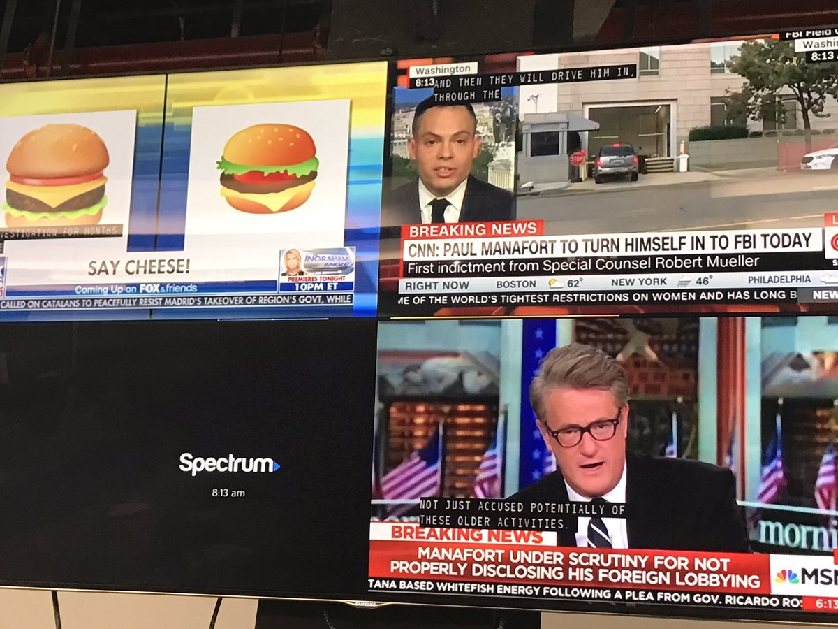 Paul Manafort just agreed to turn himself in to the FBI. What should we report on?  CNN: Manafort MSNBC: Manafort Fox News: Hamburger emoji