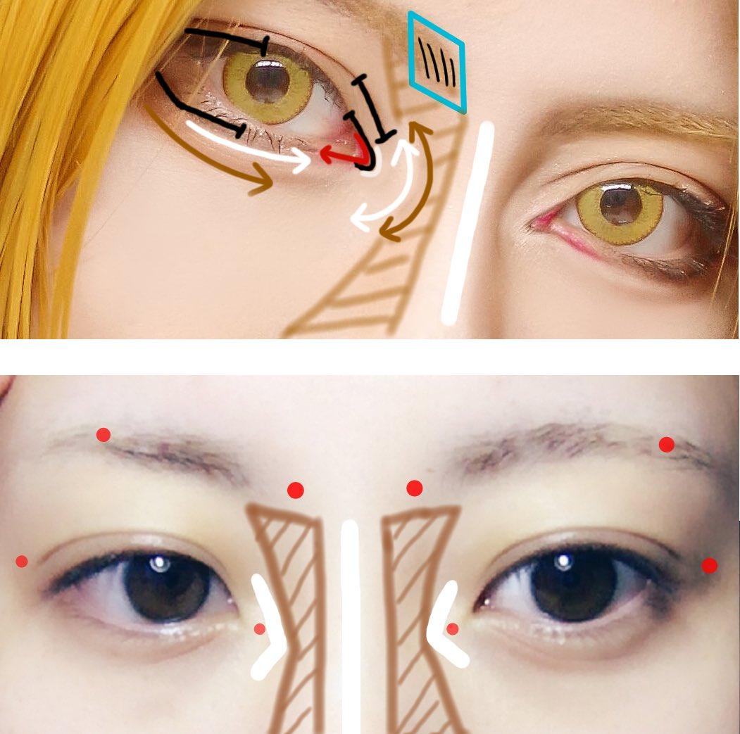 目頭のメイクについて反応いろいろ貰ってるので簡単にまとめてみました!  外国人顔にしたい時は切開ラインは丸めに書いてます。目頭の赤色はリップブラシで口紅塗ってます。 眉頭はシャープライナーで1本ずつ書き足して鼻筋が細く見えるようにしてます。