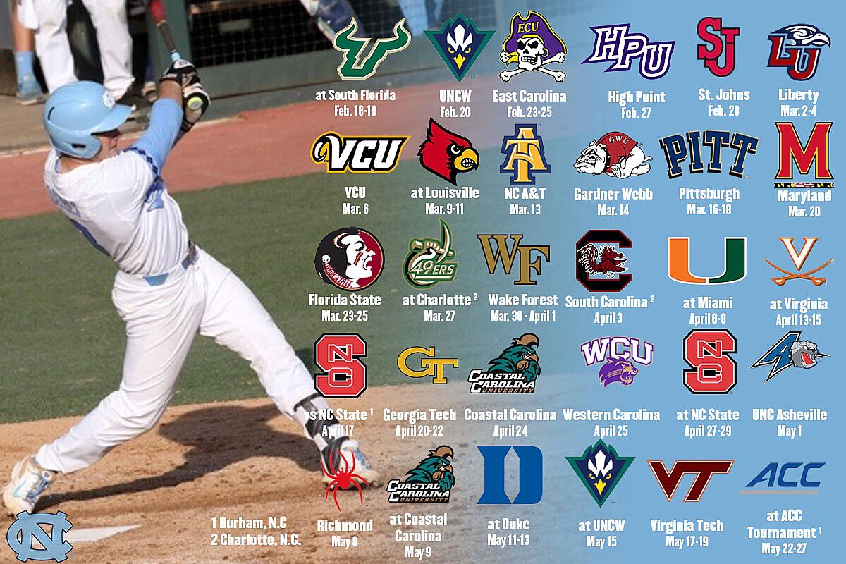 "carolina baseball on twitter: ""the 2018 schedule is out! which games"