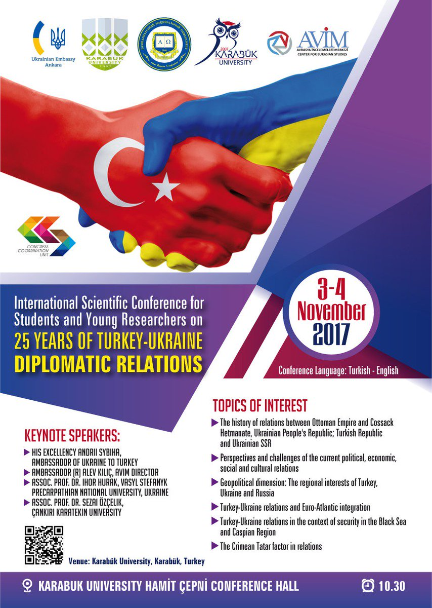 "DOÇ. DR.SEZAİ ÖZÇELİK on Twitter: ""In Karabuk University, International  Scientific Conference 25 Years of Turkey-Ukraine Diplomatic Relations as  Keynote Speaker 03 Nov.10.30… https://t.co/dTjtGycUFF"""
