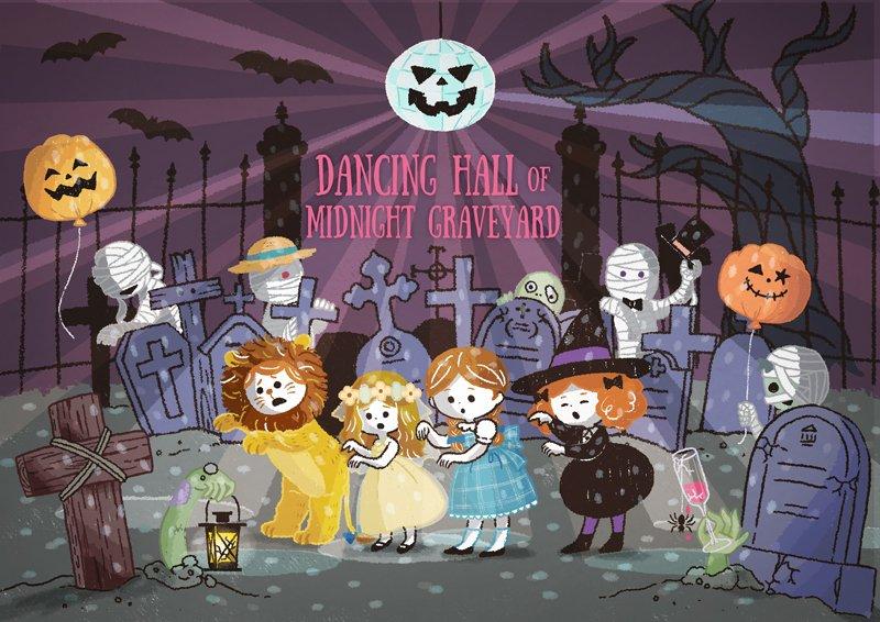 →お墓のダンスホールにご案内???? 「ここの皆は踊ったりパーティが大好きなのよ????」皆でゾンビダンス???? #ハロウィン #halloween #イラスト #illustration https://t.co/T5gbnzlwvM