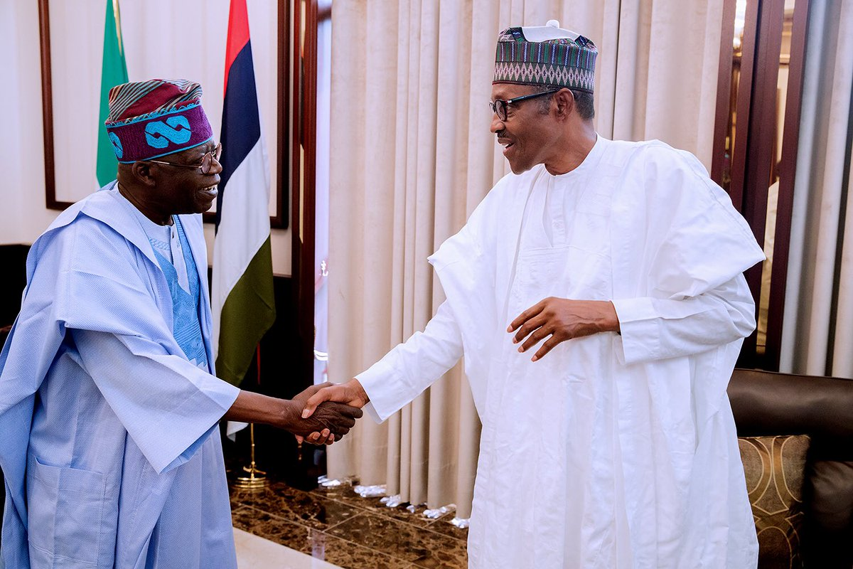 Buhari this afternoon met behind closed doors with Bola Ahmed Tinubu at the State House. Details of their meeting are yet to be made known to newsmen.