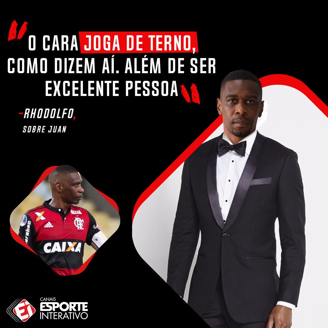 O zagueiro Rhodolfo, do @Flamengo, rasgou elogios ao companheiro Juan, que vive grande fase aos 38 anos de idade.