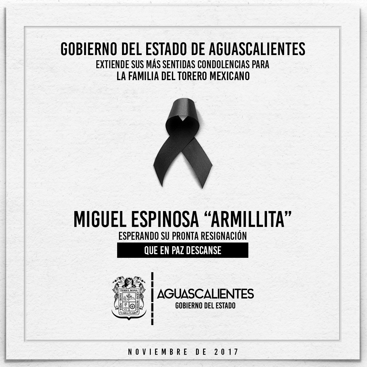 RT @MartinOrozcoAgs: Descanse en paz Miguel Espinosa 'Armillita', aguascalentense y figura del toreo en México. https://t.co/ZpxHvrI98H