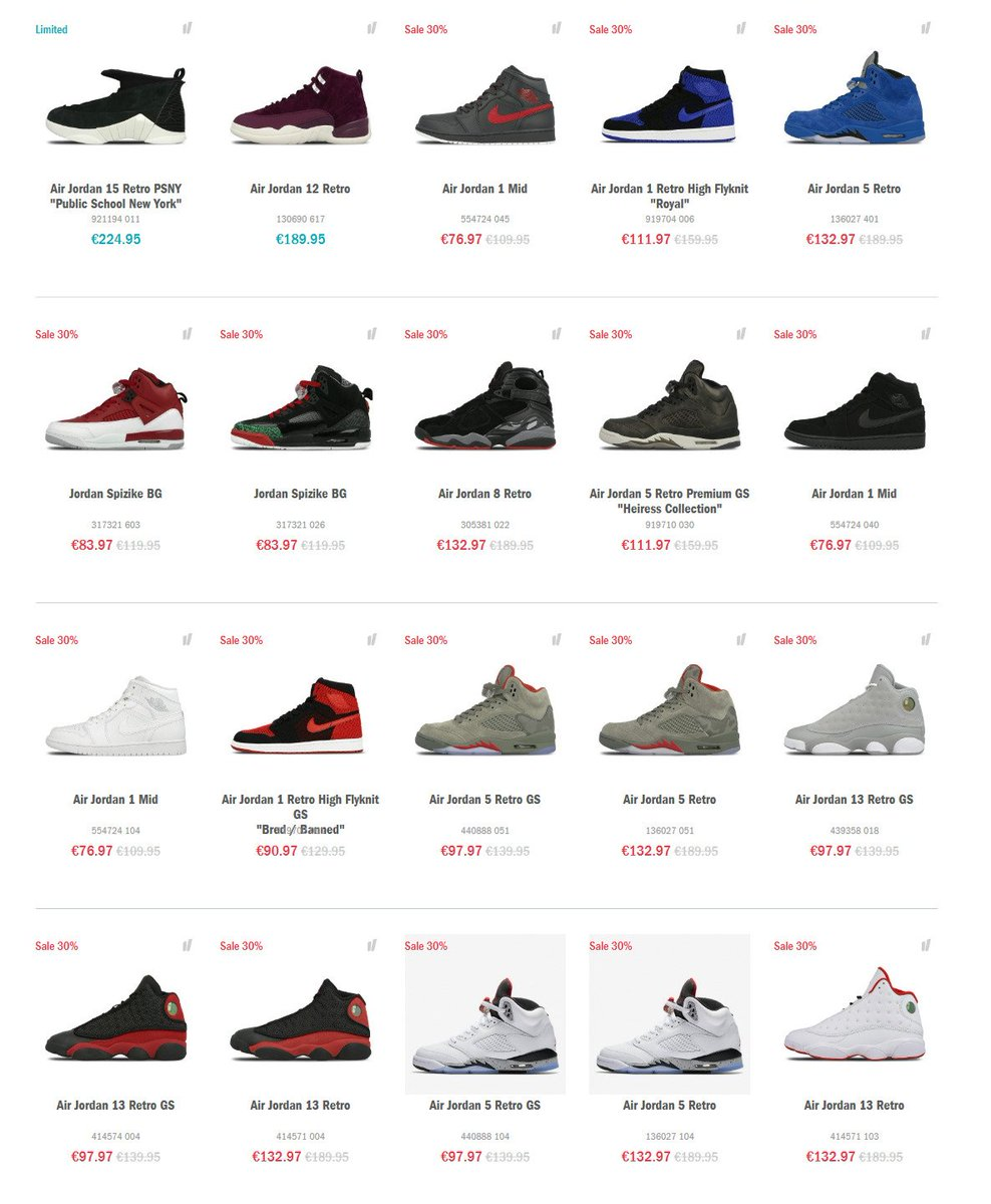 Many styles of Air Jordan Retro