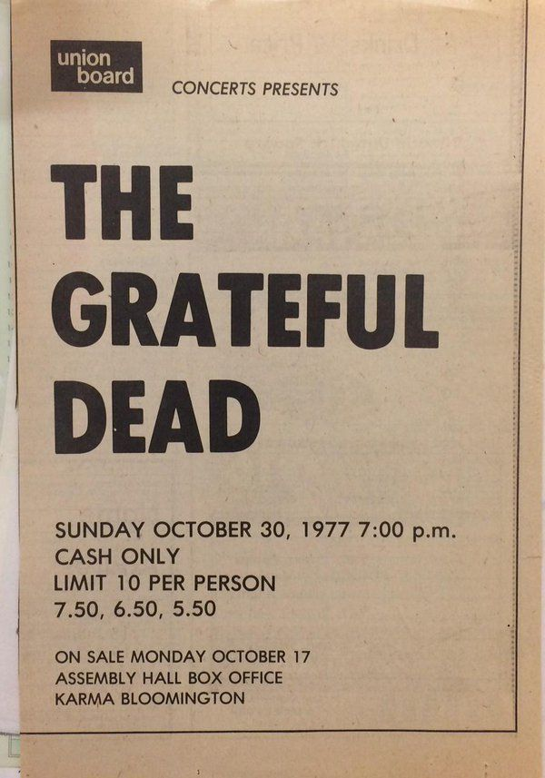 Jesse Jarnow On Twitter 40 Years Ago Tonight The Dead In Indiana
