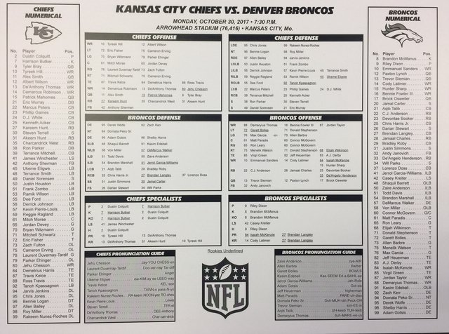 Front side of the flip card for the Broncos-Chiefs MNF game on ESPN tonight. https://t.co/jBTOuhhjrT https://t.co/bPgGi5tpss