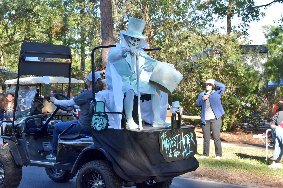 denise at mousesteps on twitter this hatbox ghost golf cart is one of my favorites today in disneys fort wilderness halloween golf cart parade disney