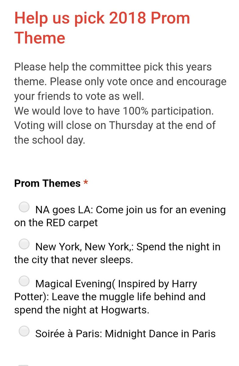 Ian Kimbell On Twitter All Juniors And Seniors Can Help Decide The 2018 Prom Theme To Vote Fill Out Form In Your School Email By Thursday