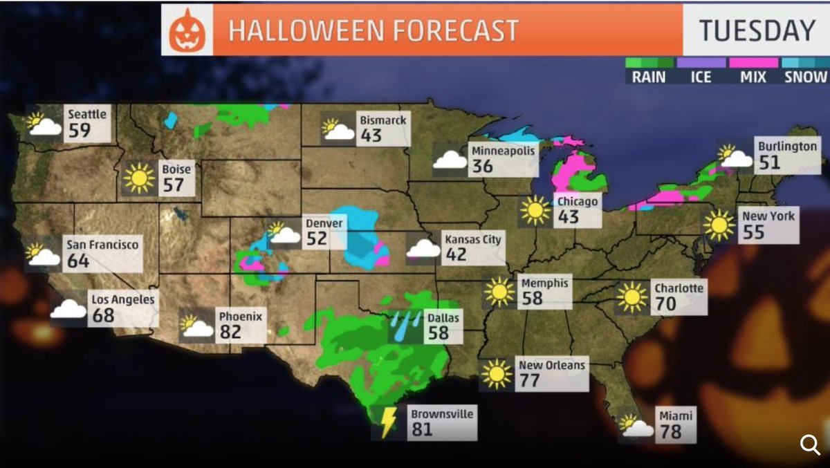 The weather channel on twitter trick or treating tonight heres heres where your costume may need an extra layer an umbrella or rain jacket httpst17qi8bselw httpsti16uapzvfo gumiabroncs Images