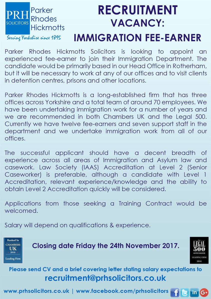 Prh solicitors prhsolicitors twitter prh solicitors have the following vacancies residential conveyancing advisor immigration fee earner please send cv and brief covering letter to madrichimfo Gallery