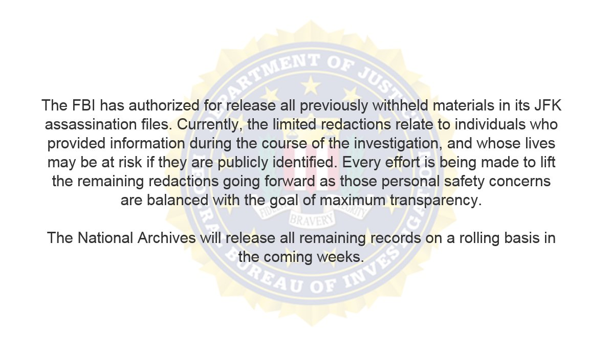 Update on the Release of the FBI's JFK Assassination Files fbi.gov/news/pressrel/…