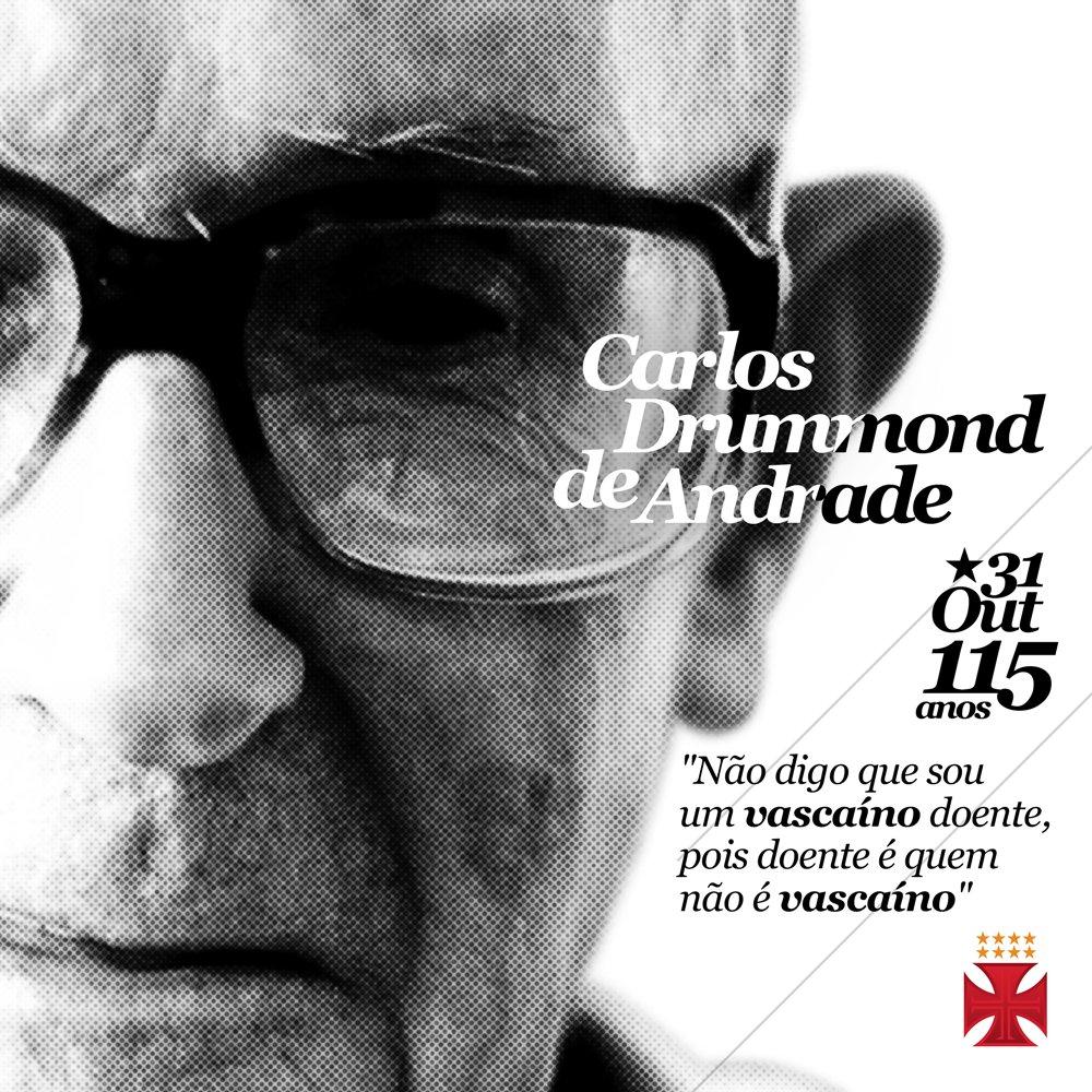 O vascaíno Carlos Drummond de Andrade completaria hoje 115 anos de vida e sempre representou com orgulho o que é vestir a Cruz de Malta. 💢👏🏻