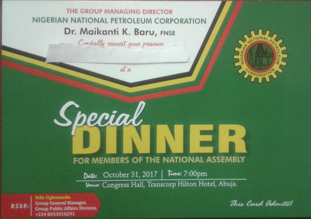 NNPC Group Managing Director, Maikanti Baru, has canceled the dinner intended to host members of the National Assembly at Transcorp Hilton Hotel.