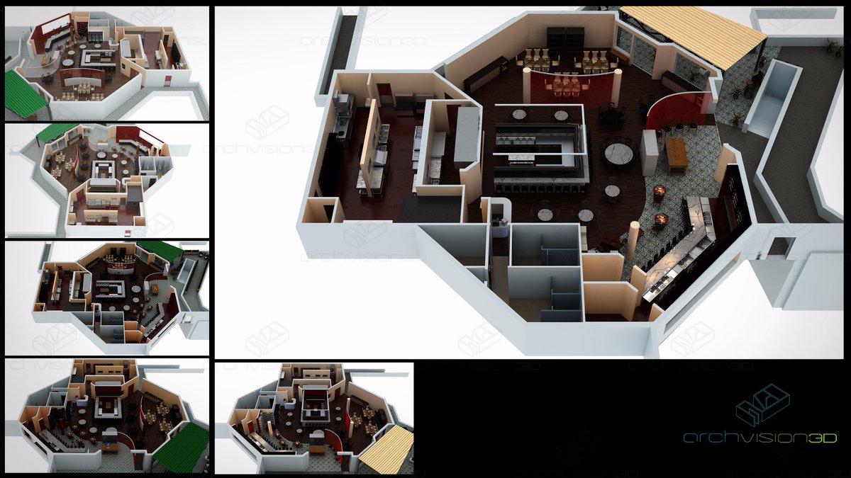Archvision 3d On Twitter Quot 3d Floorplan Of A Restaurant