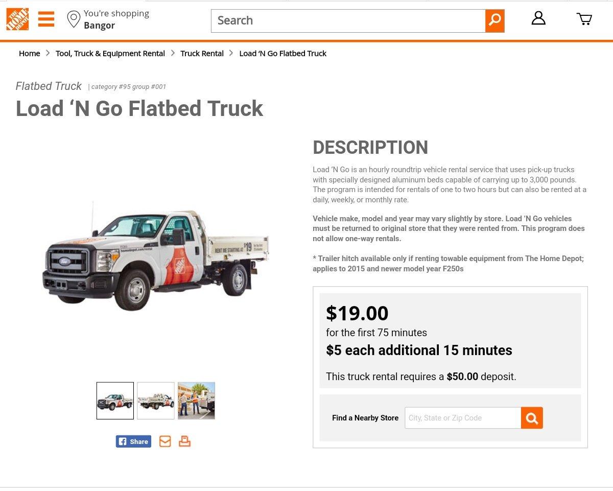 Home depot trailer rental size
