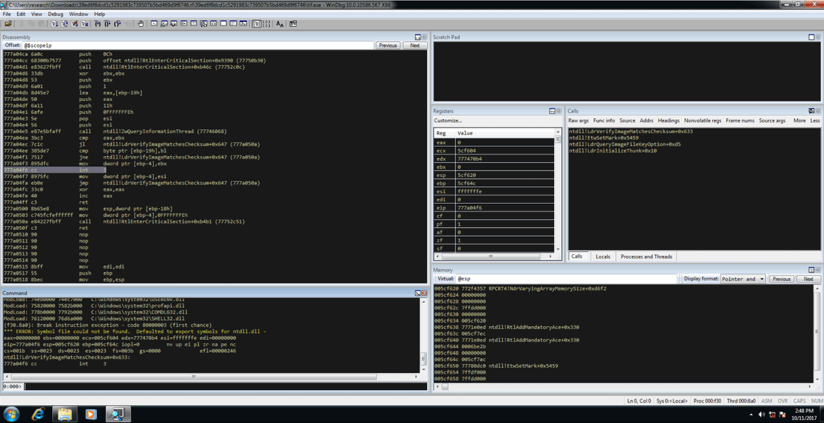 Debugging #Malware with #WinDbg – @Ixia_ATI shows you how  http:// gag.gl/fUivwX  &nbsp;   #Ixiacom<br>http://pic.twitter.com/oKq8R4yzMK