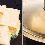 【ホテル オークラのフレンチトーストの作り方】・たまご6個・牛乳370cc・砂糖62g・バニラエッセ…
