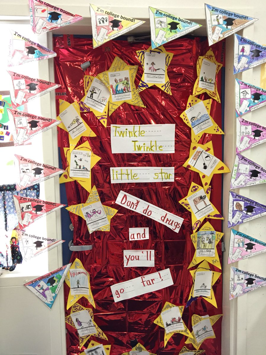 Super creative door decor to finish Red Ribbon Week. A drug-free Future is key!#excellenceforall