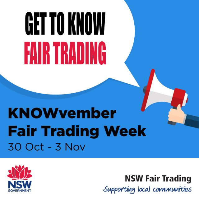 It's Fair Trading Week, know your rights, know your responsibilities and get to know Fair Trading #FTWeek  http:// ow.ly/JSCv30g6JBZ    pic.twitter.com/PmsCPQuCX6