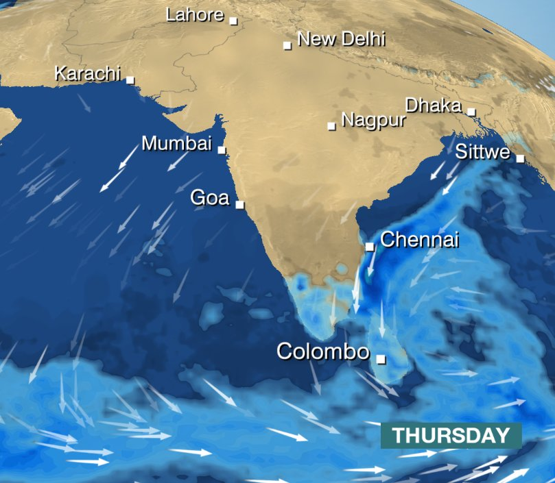 INDIA: Warnings are in force for heavy rains in Tamil Nadu, Puducherry & Kerala. It'll also be very wet in Sri Lanka. Helen