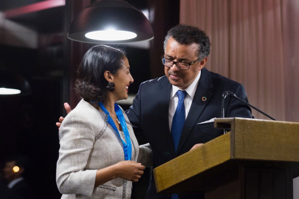 Congratulations to the amazing @DrSenait being recognized by @DrTedros for services to @WHO as transition chair https://t.co/traSstCRzy