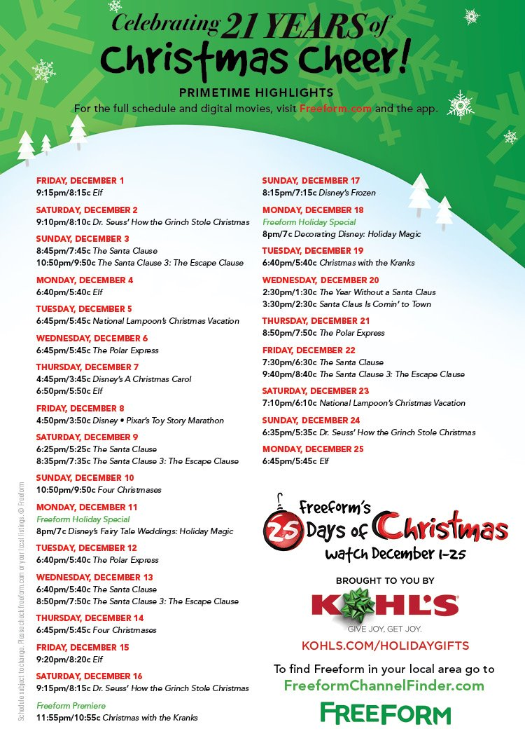 25 days of christmas on twitter its finally here check out the 25daysofchristmas lineup get the full schedule at httpstcoxaovswddso