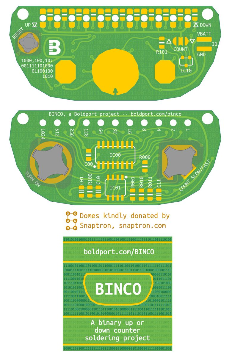 BINCO #BoldportClub Thanks to @snaptron for donating the domes! Lovely PCBs manufactured by @eC_PCB as usual ;)