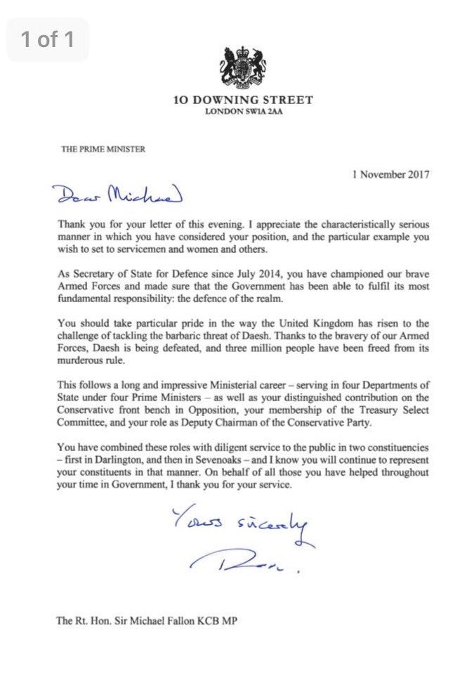 Bbc Politics On Twitter Sir Michael FallonS Resignation Letter