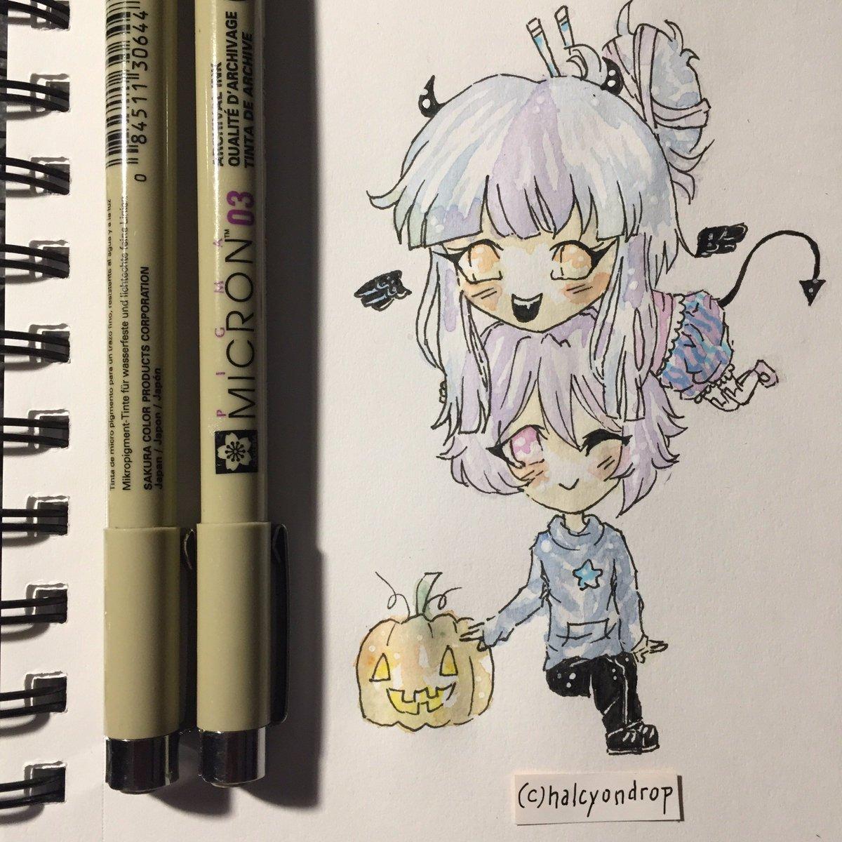 Halcyondrop On Twitter My Babies Halloween Couple Anime Art