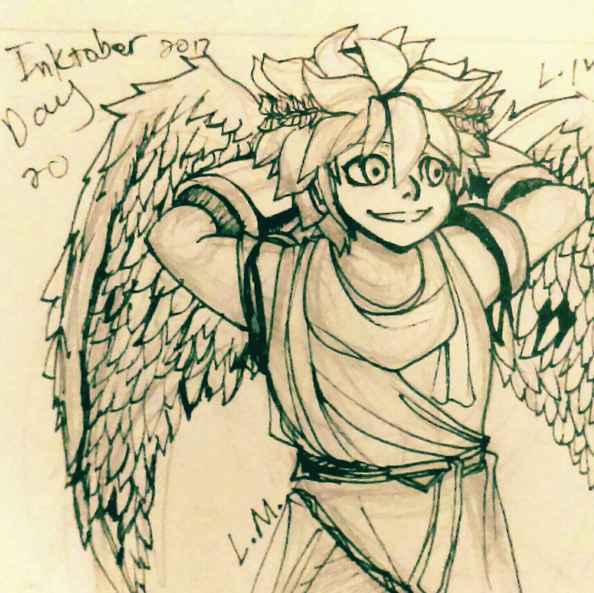 Pit From Kid Icarus This Is My Final Artwork For Inktober I Failed But Went Up To Day 20 A New Record Inktober2017 Inktoberday20 Kidicarus