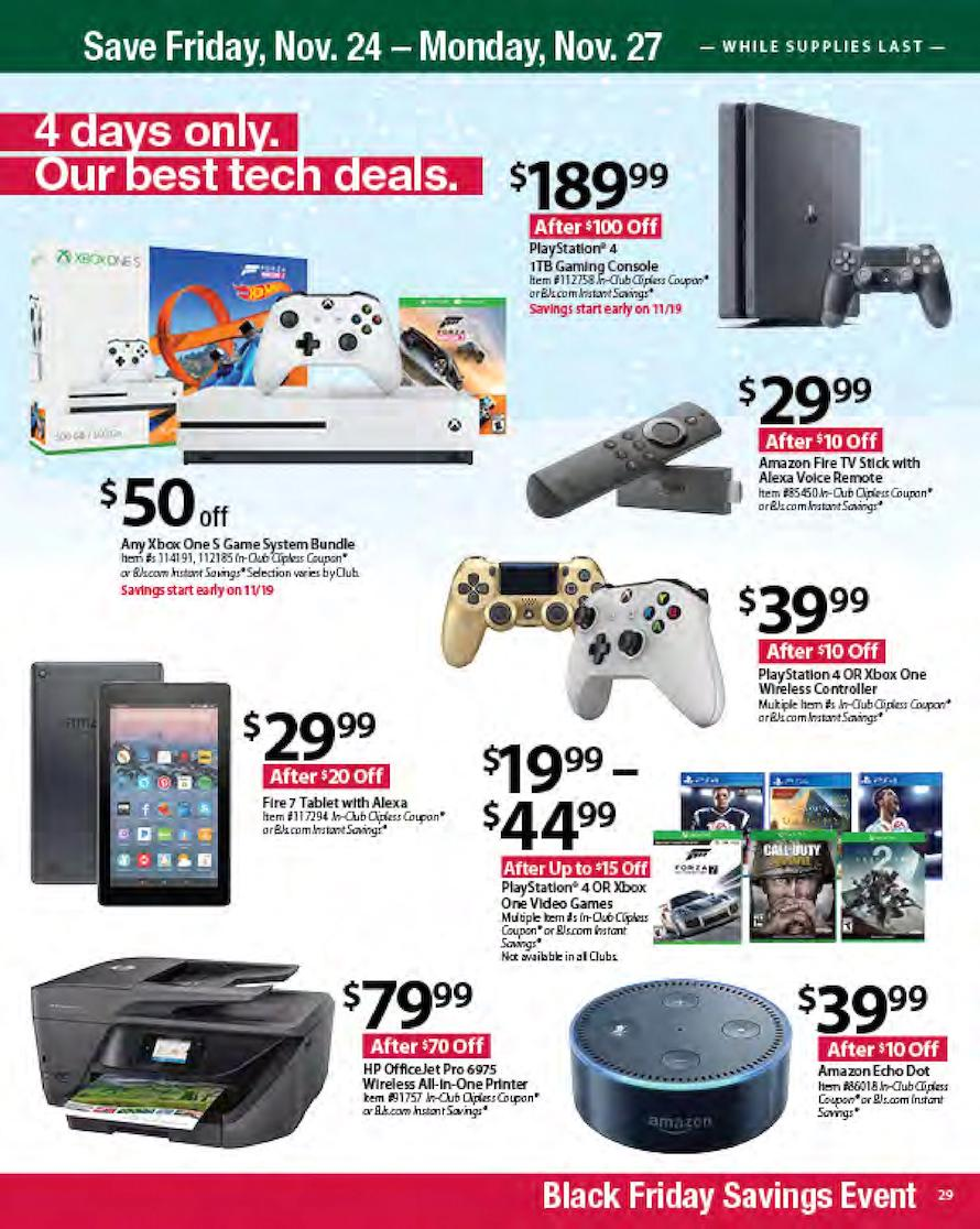 Wario64 On Twitter Bj S Wholesale Club Black Friday Ad 189 99 Ps4 1tb Slim And Some Others