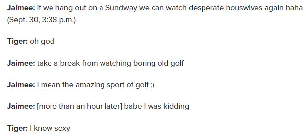 sometimes I go back and read the tiger woods cheating sexts because it had some of the funniest shit ever https://t.co/eZGGhmF1cU