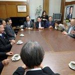 枝野代表はじめ立憲民主党のみなさんが結党の挨拶にみえ懇談。志位「野党3党が市民連合と結んだ政策合意ー…