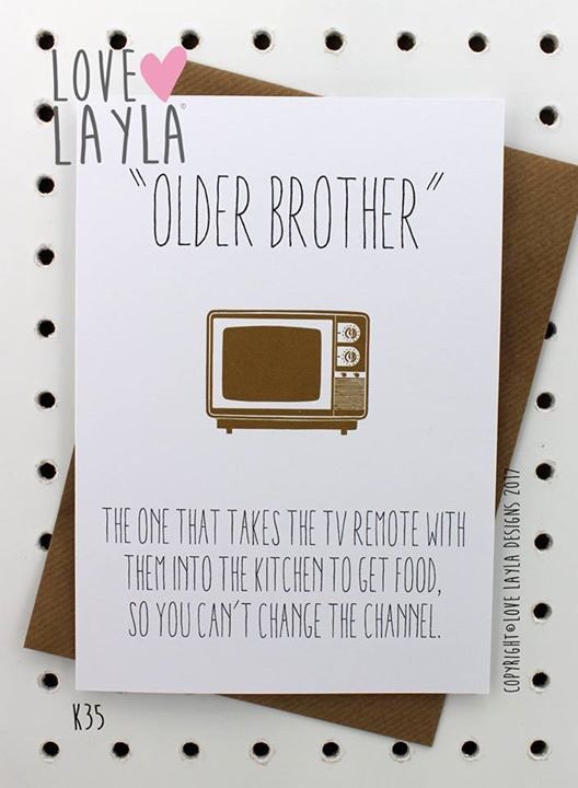 OLDER BROTHER Lovelayla Funny Funnycard Greetingscard Showusyourlove Birthday Birthdaycards
