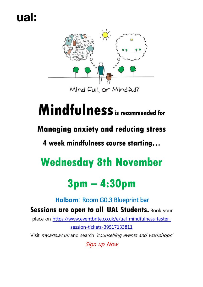 Ual student services ualwell twitter book online now for new mindfulness taster session 8th november httpseventbriteeual mindfulness taster session tickets 39517133811 malvernweather Gallery