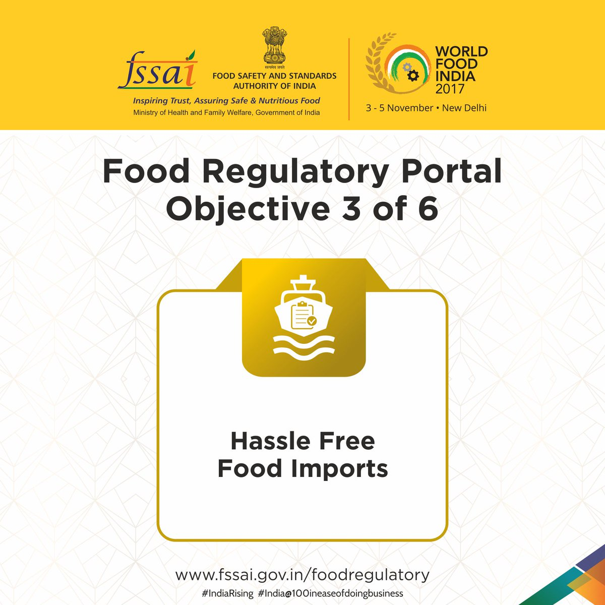"""FSSAI on Twitter: """"The fourth objective of food regulatory portal is to  ensure effective of food imports related laws through launch of Food  Imports manual… ..."""