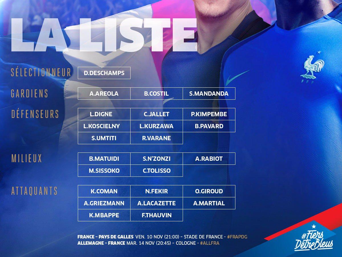 Voilà les 24 Bleus appelés pour affronter l'Allemagne et le Pays de Galles !👊 RDV lundi pour le début du rassemblement #FiersdetreBleus