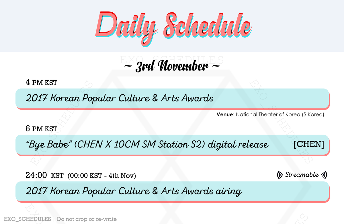 "exo schedule on twitter: ""daily schedule 🗓 171103 