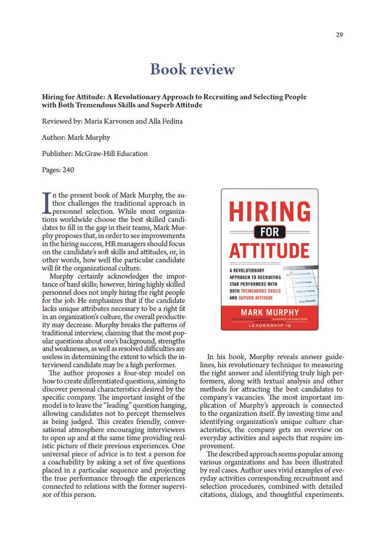 "Read book review of Maria Karvonen and @mddlcf from @HandelshoyskBI on book  ""Hiring for attitude"" published in SJOP: ..."