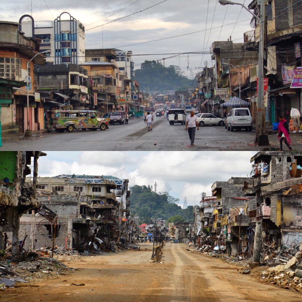 Top photo is one I took of #Marawi in 2010 during special elections. Other photo is from today. 7 years later. After 5 months of war.