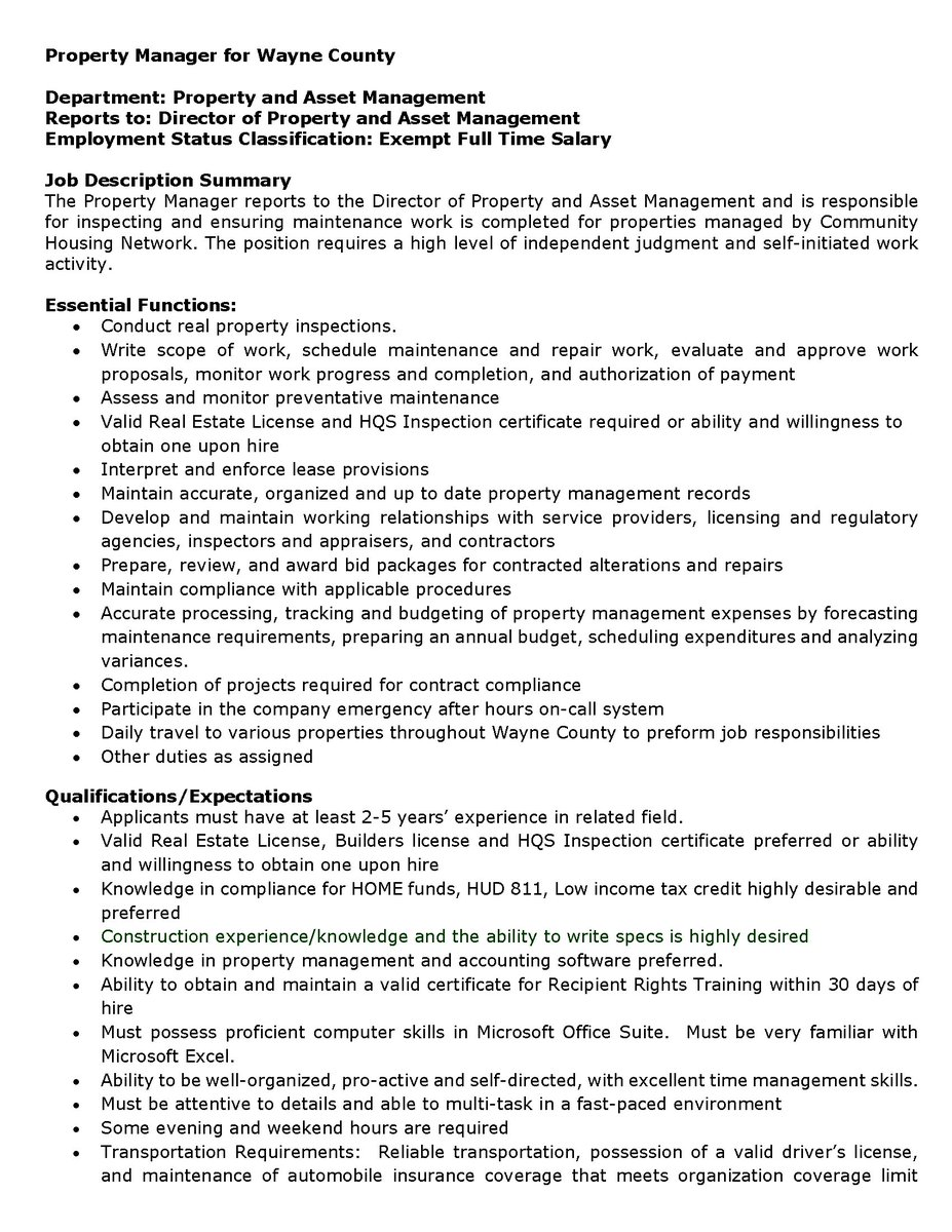 apartment manager job sample resume for commercial property