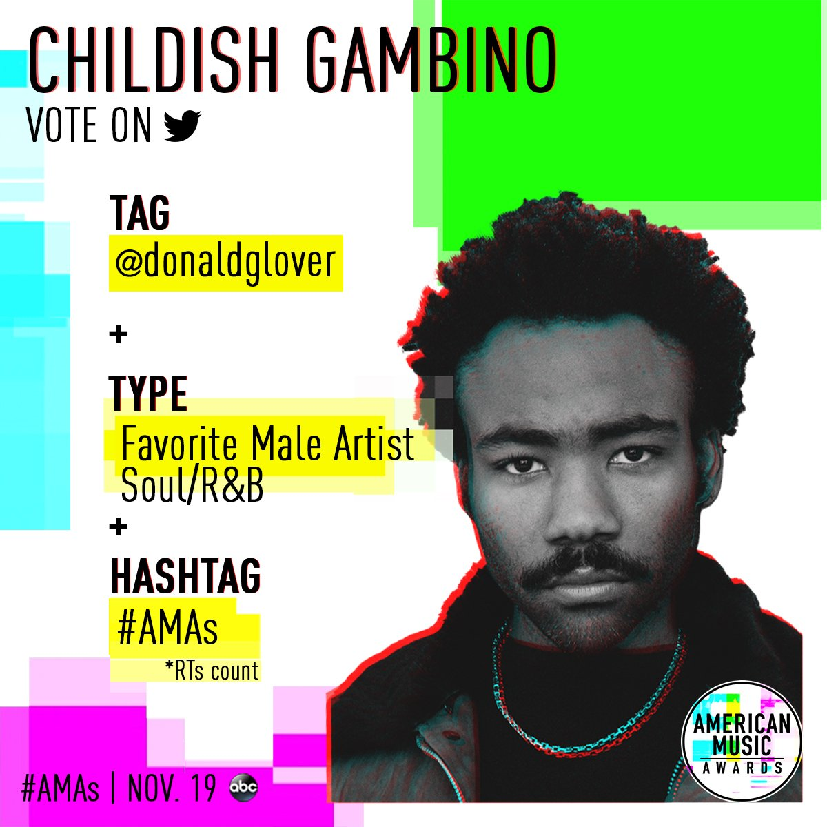 RT to vote for @donaldglover for Favorite Male Artist Soul/R&B at the #AMAs! ��➡️ https://t.co/CwV2pR8OnJ https://t.co/0nXQZZU0cN