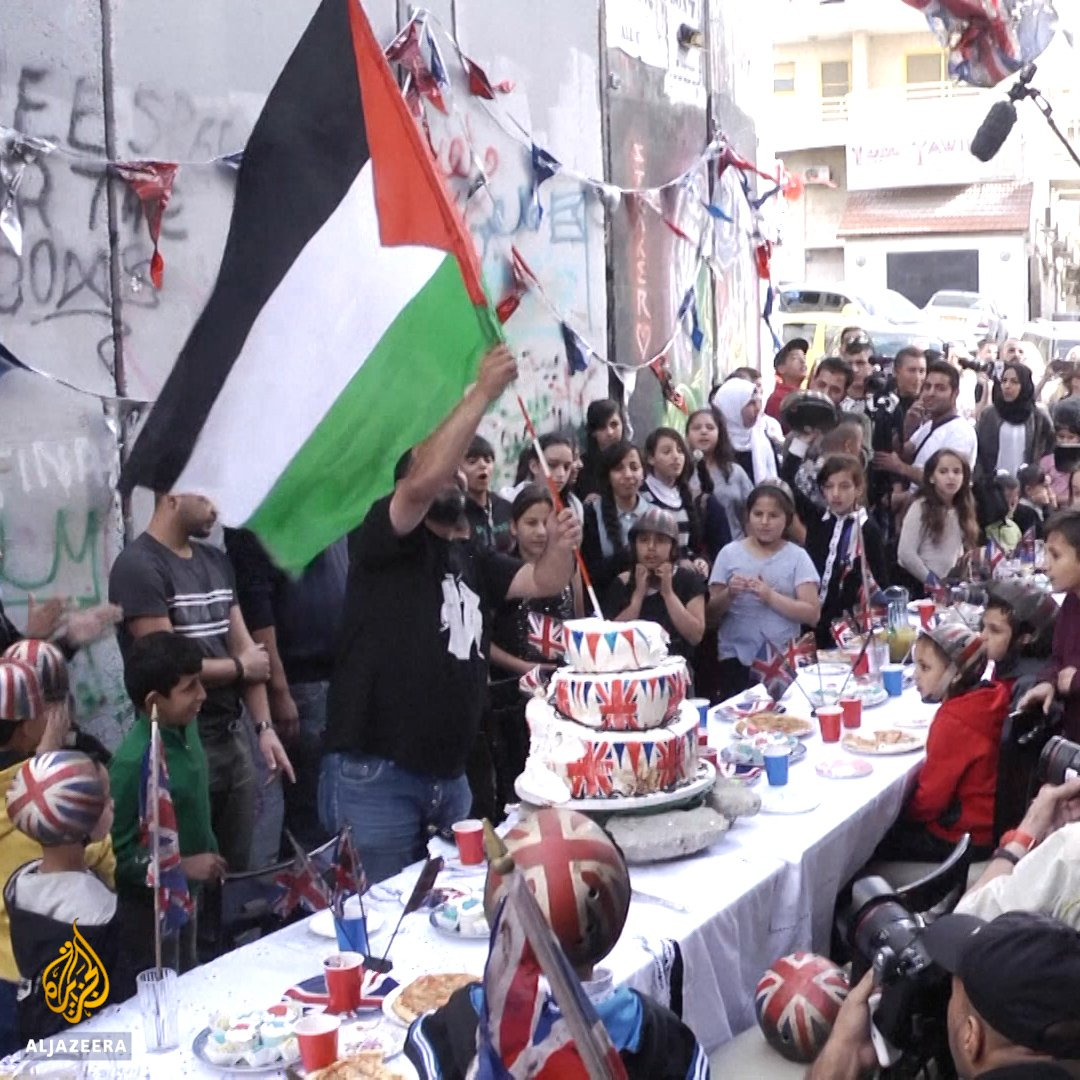 Street artist #Banksy threw an apology party in #Palestine to mark the Balfour Declarations 100th birthday.