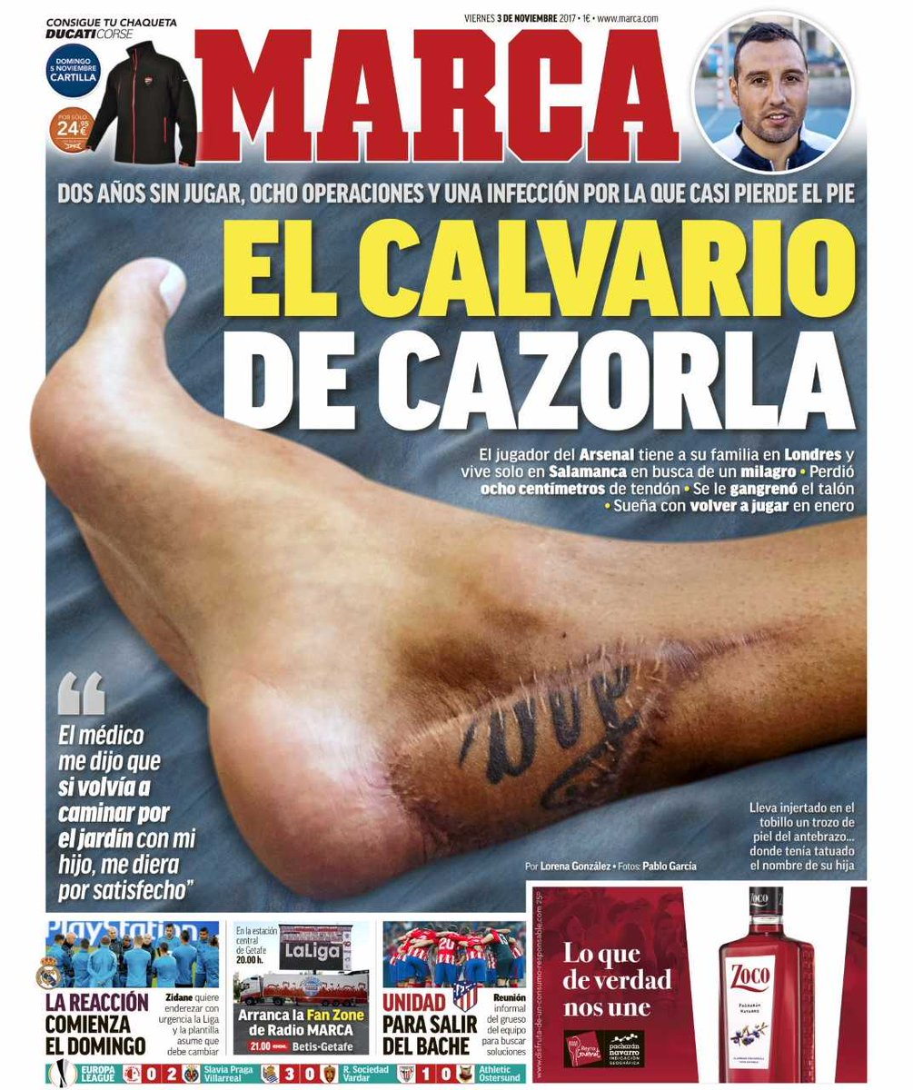Santi Cazorla almost needed foot amputated due to gangrene as he reveals scar from eight Achilles surgeries