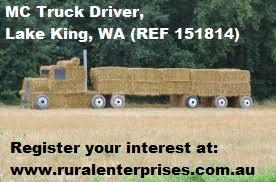MC Truck Driver required in Lake King, WA. More info @: http://ruralent.recruitonline.com.au/jobs/view/id/151814… #RoadTrain #MC #Truck #Harvest #Farmjobs #WA #LakeKing