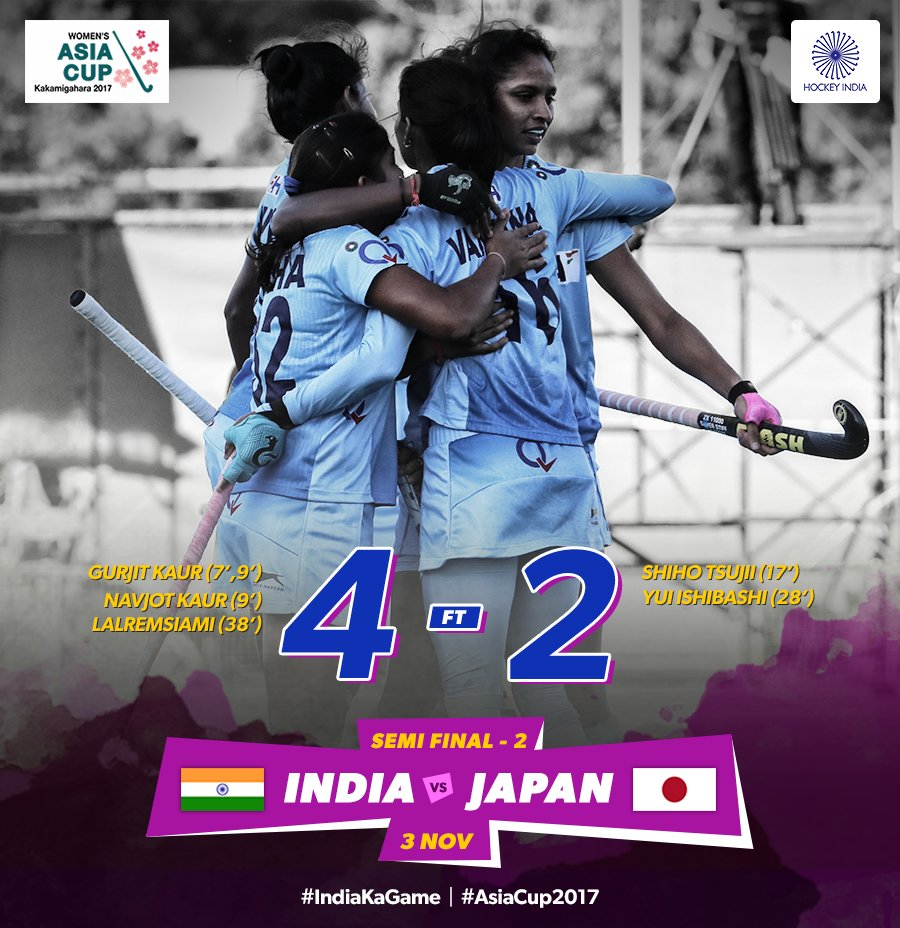 Indian women edge Japan to reach Asia Cup hockey final