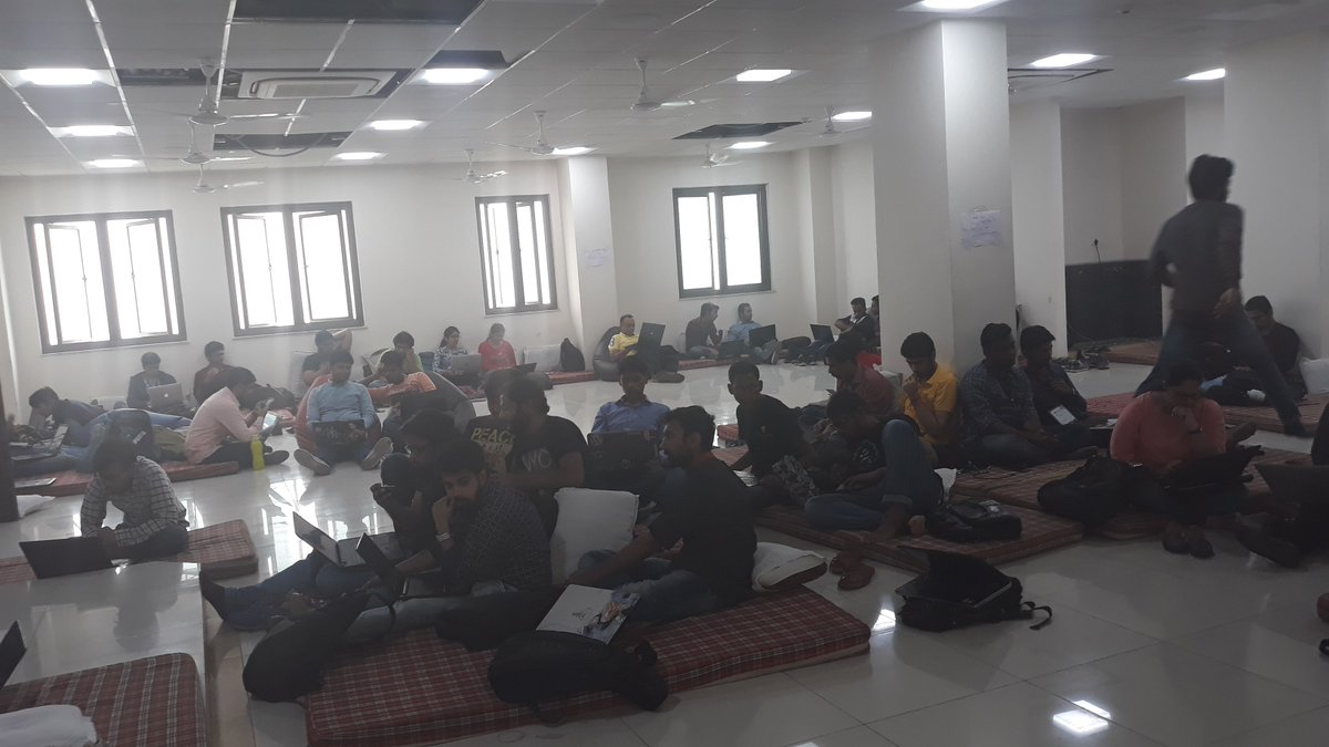 Devsprints enthusiasts at pycon. Came for the language, stayed for the community. @pyconindia #PyConIndia #pycon2017 <br>http://pic.twitter.com/EQe04l2Ad0