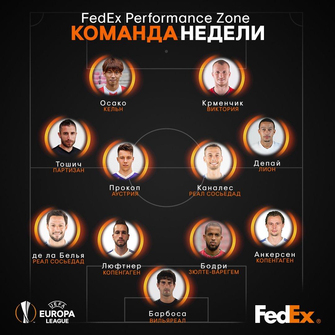 УЕФА назвал команду недели Лиги Европы - изображение 1