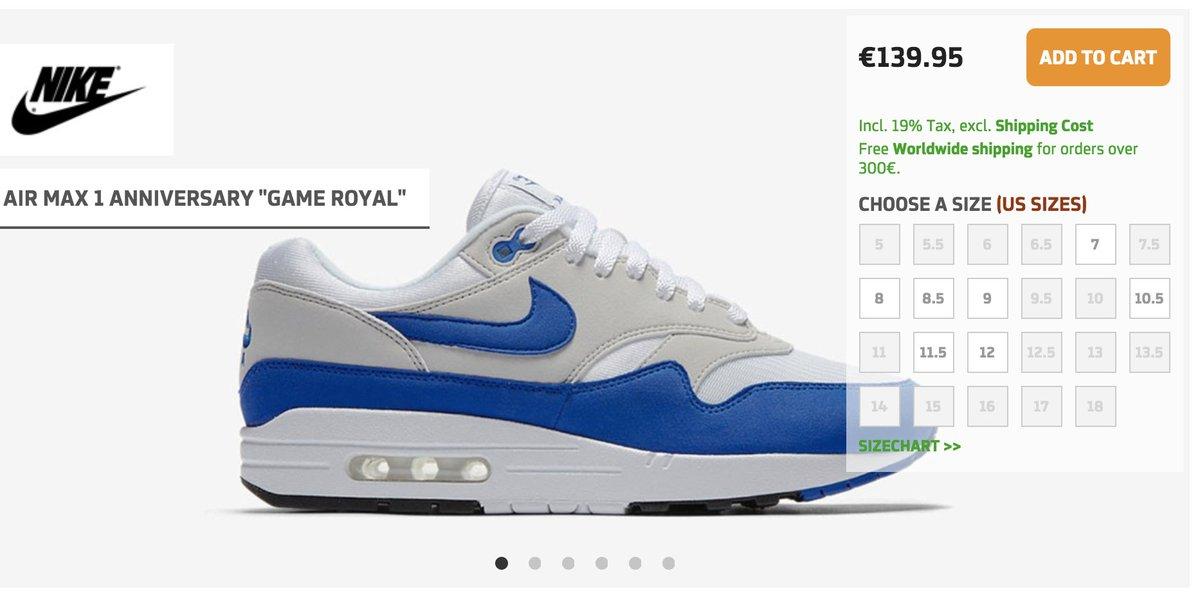 1811df3441 #RESTOCK Nike Air Max 1 OG Anniversary 'Game Royal' =>  http://tinyurl.com/y73aafnb pic.twitter.com/PBXGdWb0YY